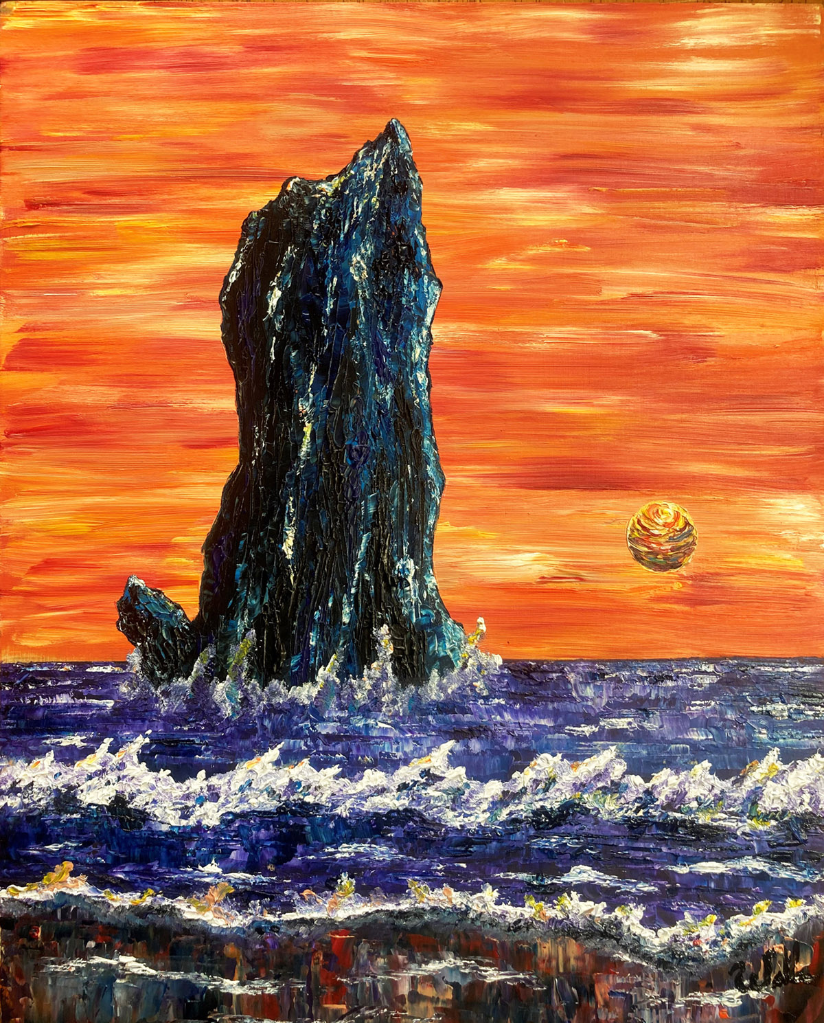 fine art painting of a cliff and ocean at sunset