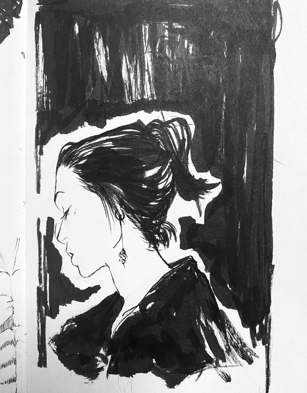 fine art sketch of a woman