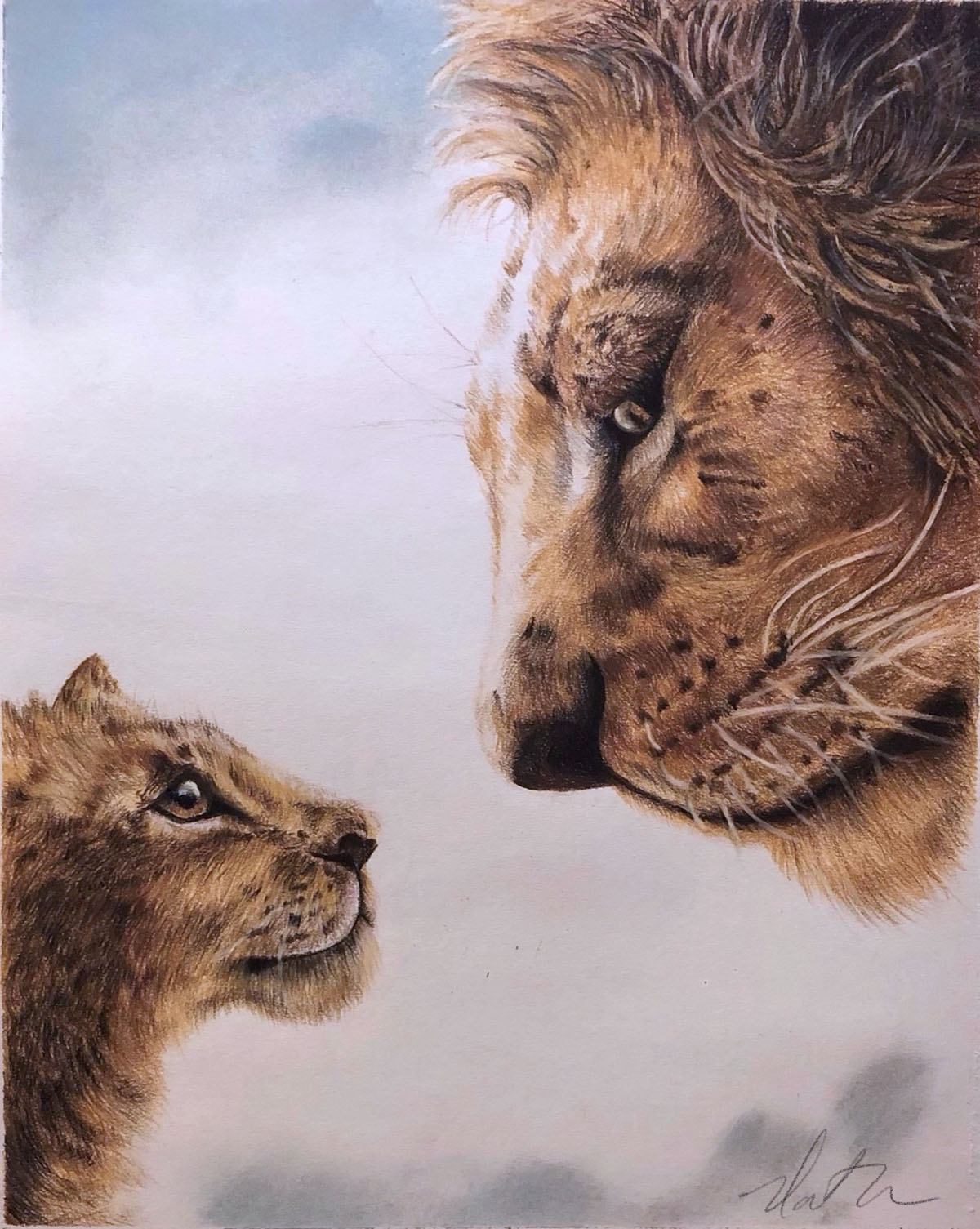 fine art painting of an adult and baby lion