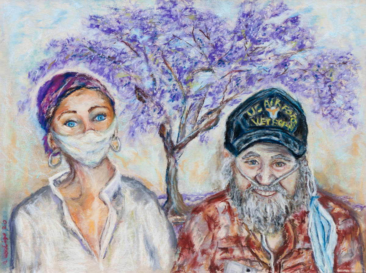 fine art pastel on paper of a young woman wearing a face mask and an older man without a face mask