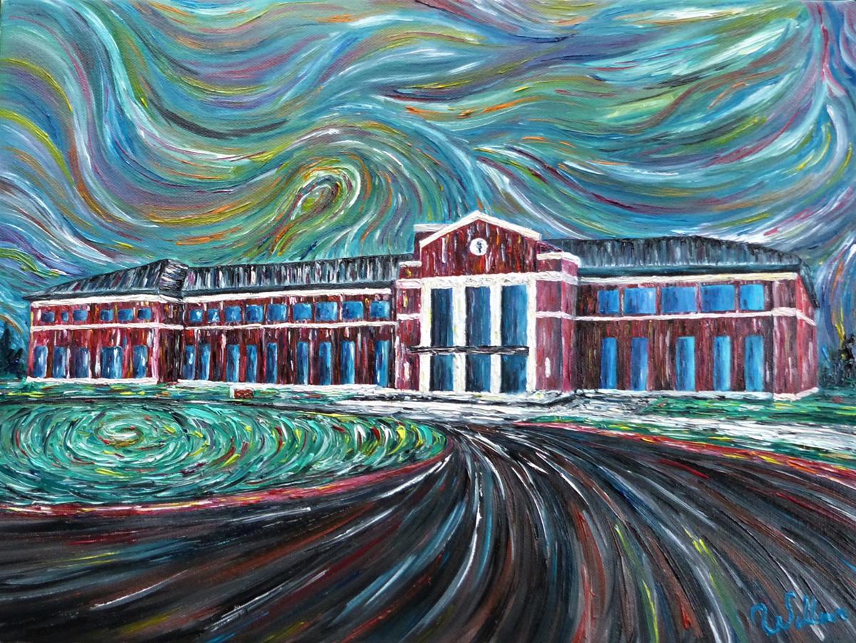 fine art painting of COMP-Northwest building in Lebanon, Oregon